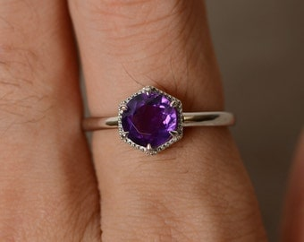 Natural Amethyst Ring Sterling Silver Purple Gemstone Solitaire Ring February Birthstone Ring
