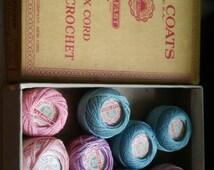 9 Lot of Vintage Spools  J & P COATS BOILFAST Best Six Cord TATTING - Crochet  in Box