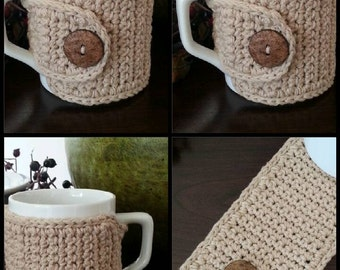 Mug Cozy - Cup Cozy - Set of 2 - Beige with Wooden Buttons by Nandys Nook