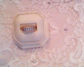 9K White Gold Diamond Ring, •88ct Round Brilliant Cut Diamonds, Size M, Sale