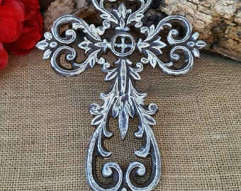 Wall Cross, Iron Wall Cross, Ornate Cross, Floral Cross, Shabby Chic Cross