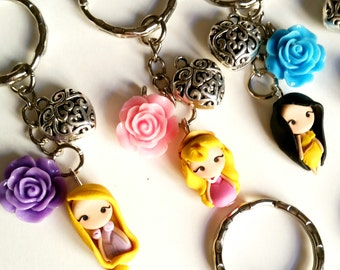 Princess disney inspired keyring with flower,Disney Princesses inspired. Disney Keyring Disney jewelry. Clay charm. Choose your Princess