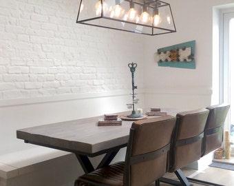 Industrial Style Reclaimed Wood Metal Cross Leg Base Dining Table