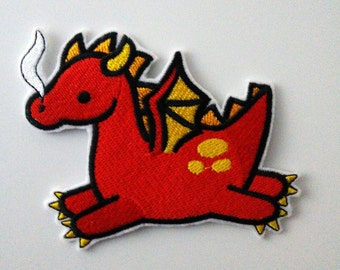 Cute red dragon iron-on patch, fantasy, mythological creature.