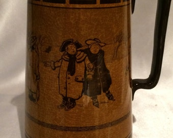 Royal Doulton Seriesware Pitcher, The Skaters; Seriesware motif, Manufactured in 1908, rare, royal doulton, tankard, pitcher, holbein glaze