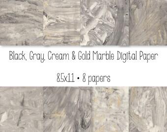 Marble Digital Paper - Black Gold Cream Gray