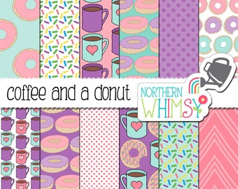 "Donut Digital Paper:  ""Coffee and a Donut"" - hand drawn coffee and donut seamless patterns in pink, purple & aqua blue - commercial use OK"