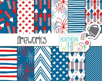 "4th of July Digital Paper - ""Fireworks"" - Independence Day scrapbook papers in red, white, and blue - stars and stripes - commercial use OK"