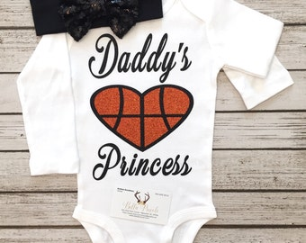 "Daddy""s Princess Basketball Bodysuit, Princess Shirt, Basketball Girls Shirt Basketball Shirt"