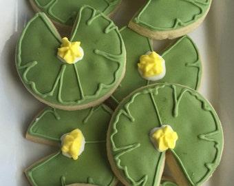 Lily Pads Custom Decorated Sugar Cookies - 1 Dozen