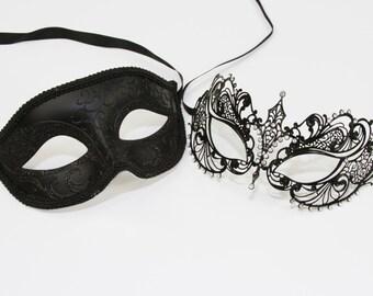Classic Black Couples Mask Set Masquerade/Venetian Mask