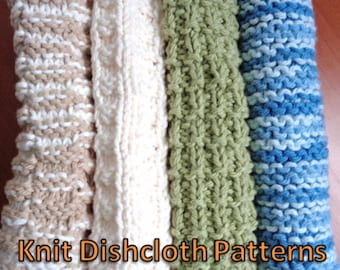 Dishcloth Knitting Patterns: Learn to Knit Four Basic Dish or Wash Cloths!