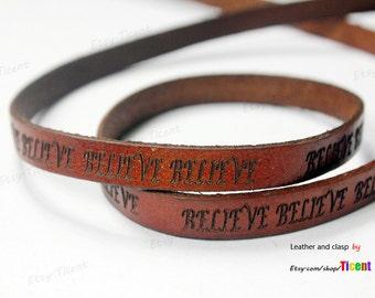 Believe Leather Bracelet Strip-10mmx2mm Distressed Brown Leather Cord Engraving by Yard 1 yard, GF10M-129