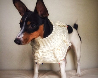 Crochet Cable Knit Dog Poncho Cat Cape Unique Handmade Ivory Photo Prop