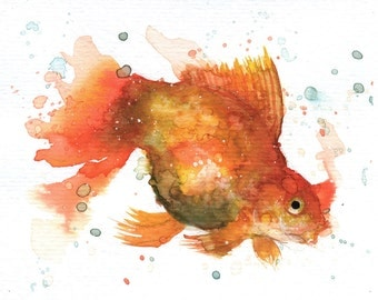 """Golden Fish IV - ORIGINAL Watercolor - 4.5x5.5"""" - Fish, UNFRAMED, Painting by Bruno M Carlos"""