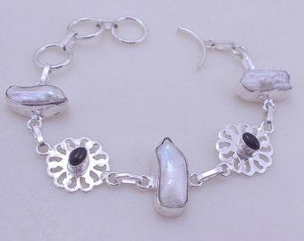 free shipping F-296 Stunning Biwa-Black Onyx .925 Silver Jewelry Handmade Bracelet 16 Gr.