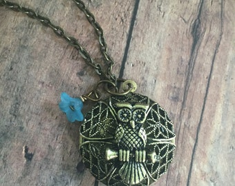 Antique Brass Owl Locket Brass Locket Brass Owl Necklace