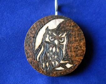 Owl moon pendant (wood burning pyrography)