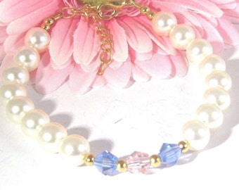 Swarovski Crystals Light Blue and Pink and Swarovski Creamrose Pearls