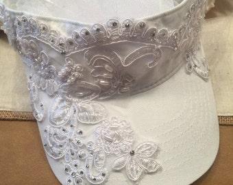 Wedding Bridal Visor with a detachable  Veil