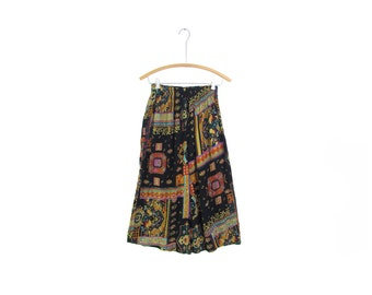 gauze pants tribal print ethnic print culottes vintage 80 pants cropped pants beaded boho high waist gauzy pants festival pants wide leg m