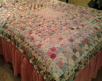 Vintage Yo-Yo Quilt / Bedspread, Full - Queen Size, Bubblegum Pink Cotton Backing and Skirt