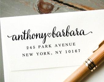 Self Inking Address Stamp, Custom Rubber Return Address Stamp, Personalized Stamp: New Couple, Housewarming, Engagement, Wedding Gift