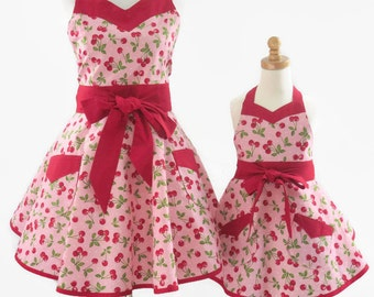 Mother & Daughter Retro Apron Set, Matching Mom Daughter Aprons, Mommy and Me Cherries Aprons, Matching Cherries Aprons, Gift for Daughter