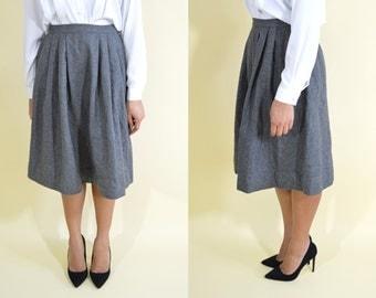 Grey Wool Midi Skirt . Minimalist . Medium . 1970s