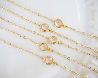 Dainty Champagne Gem Bracelets | Bridesmaid Bracelets | Wedding Jewelry