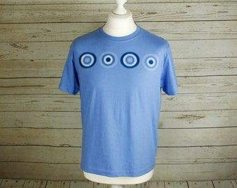 Blue Top, Men's blue t-shirt with Retro design, screen printed by hand