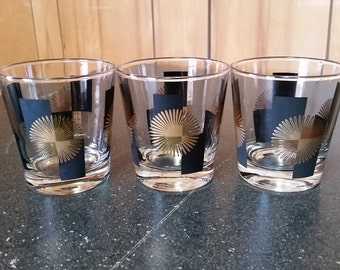 3 Black and Gold Atomic Starburst Drinking Glasses - Mad Men Style