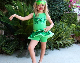 Poison Ivy  Costume Jazz Skirt Leotard Leggings Girls Size 2T,3T,4,5,6,7,8,9,10,12Y