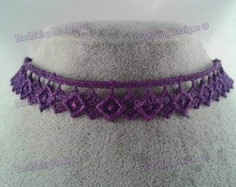 Purple cotton lace choker