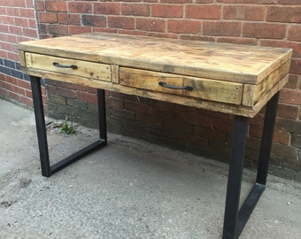 Chic Reclaimed Wood Office Desk fair reclaimed office desk epic home design styles interior ideas Industrial Chic Reclaimed Custom Office Desk With 2 Drawers Tables Steel And Wood Metal
