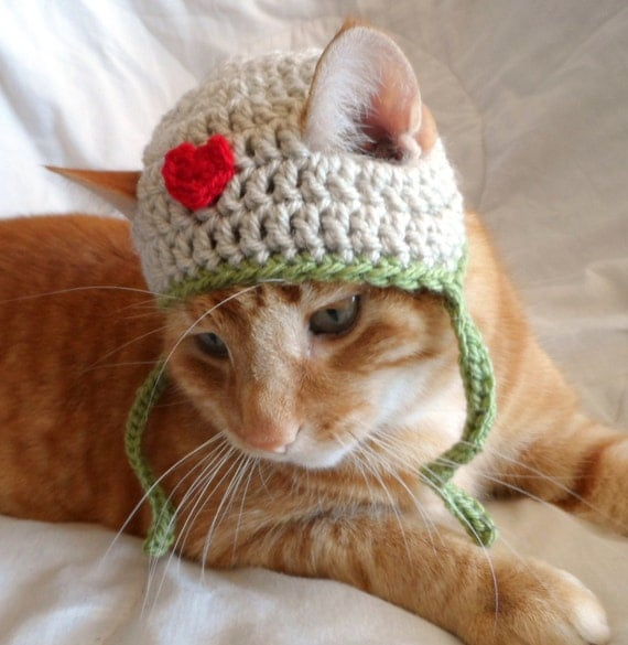 Crocheting For Cats : Hats for Cats, Crochet Cat Hat, Pet Cat Love Hat, everyday Cat Hat ...