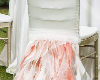 Ruffled wedding chair cover.