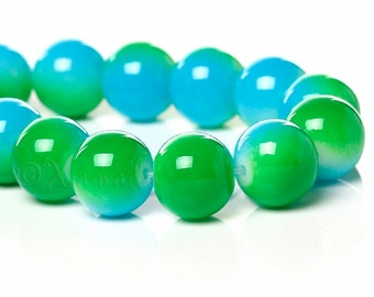 Aqua Green Glass Beads 10mm - 50/100/200 Wholesale Round Glass Beads For Jewelry Making G6698