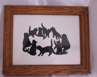 Large picture of Cat Silhouettes sitting in a circle playing Signed by artist!