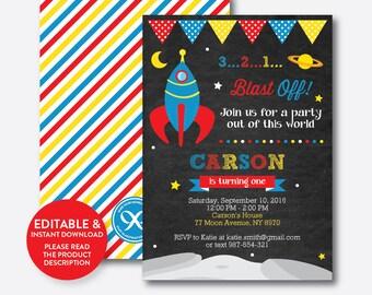 Instant Download, Editable Space Birthday Invitation, Outer Space Invitation, Rocket Invitation, Astronaut Invitation, Chalkboard (CKB.64)