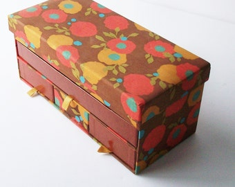 Vintage  Storage Box / Fabric Covered Cardboard / Great 1960's Fabric and Color / Never used
