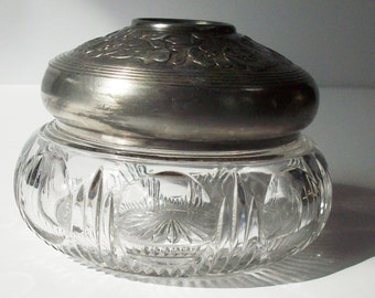 Vintage Aroma Therapy Container / Heay Glass and cast metal lid with a hole in the middle