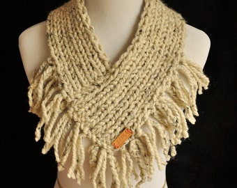 Knitted Neck warmer with fringe, featured in the picture in oatmeal. More colors available.