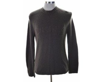 DKNY Mens Jumper Sweater Medium Brown Wool