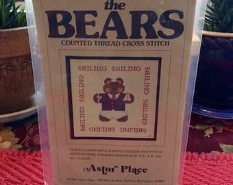 Astor Place Cross Stitch Bears Vintage Chart