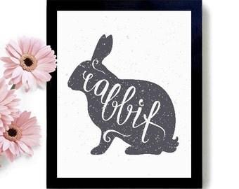 Easter Rabbit - Easter, Easter Print, Easter Art, Easter Decor, Easter Home Decor, Calligraphy, Easter Calligraphy, Spring, Rabbit, Bunny