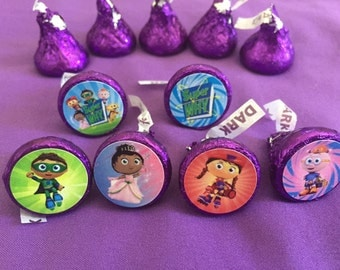 Super Why Hershey's kisses labels, envelope seals, party favors