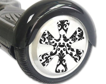 Skin Decal Wrap for Hoverboard Balance Board Scooter Wheels Black Damask