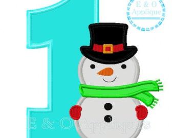 Snowman Applique Design - Winter Applique Design - Snowman Birthday Applique Design - Winter Birthday Applique Design - Snowman Embroidery