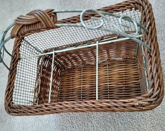 vintage wicker and wire silverware caddy with 4 for silverware and condiments